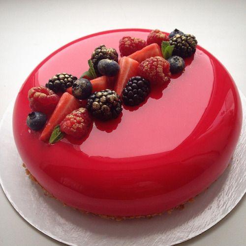 casa da cris bolo de vidro vermelho e frutas
