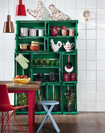 casa da cris caixote de madeira armário de cozinha reciclagem verde 1