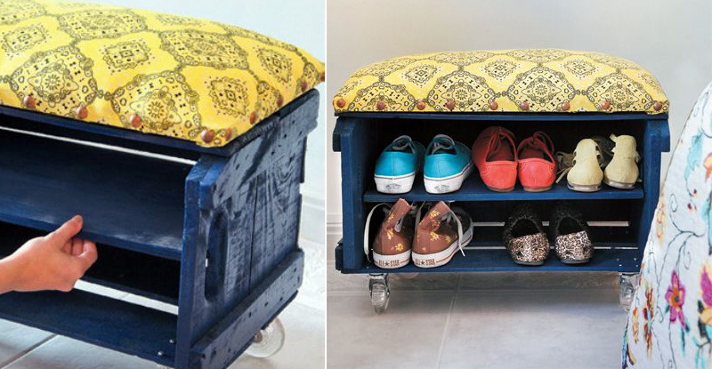 casa da cris caixote reciclado madeira sapateira azul banco