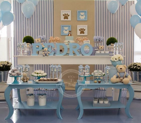 casa da cris chá de bebê mesa azul