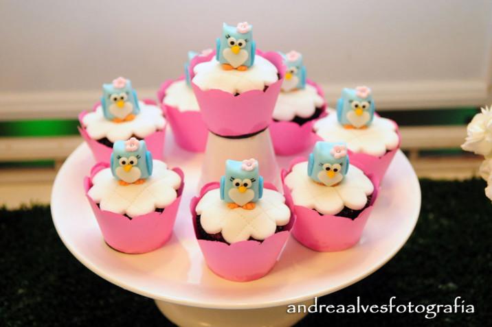 casa da cris docinho coruja festa aniversário cupcake
