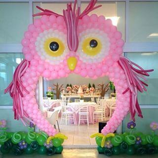 casa da cris entrada de balões festa da corujinha