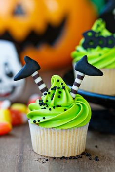 Cupcake with witch's legs