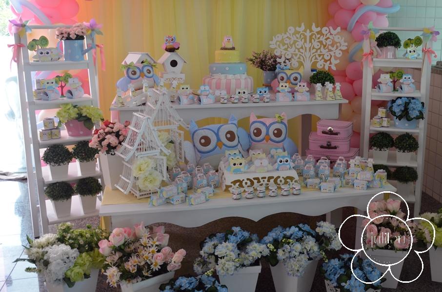casa da cris mesa de aniversário corujinha
