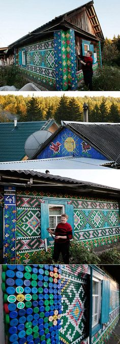 Pensioner Olga Kostina works on a mosaic, made from plastic bottle caps, which decorates the facade of her house, in the village of Kamarchaga, in the Siberian Taiga area about 80 km (50 miles) southeast of Krasnoyarsk, September 10, 2012. Kostina used more than 30,000 coloured caps to decorate her house and other constructions in the courtyard while following the techniques of macrame weaving, a technique of textile-making using knots. REUTERS/Ilya Naymushin (RUSSIA - Tags: SOCIETY)